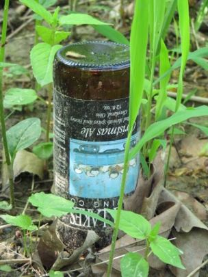 Grave marker or shrine? Whoever it was had good taste in beer.