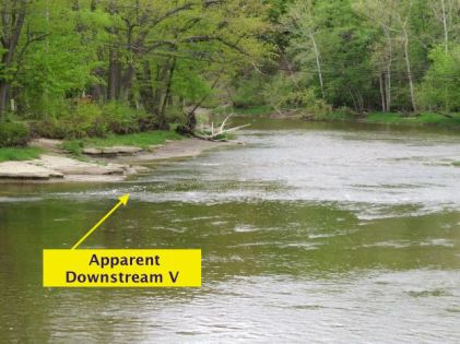 The view from the bridge at what looked like a good downstream V.