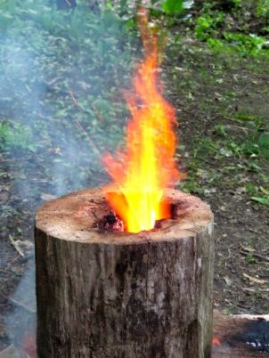 A little pyromania makes for an interesting campfire.