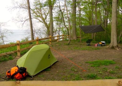 Base camp at Lake Erie Bluffs — before the tornado watch