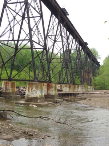 Old railroad trestle in Painesville. All but one section is choked with logs and debris, typical of obstacles on that stretch of the river.